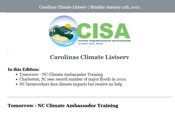 sample of the Carolinas Climate Listserv email